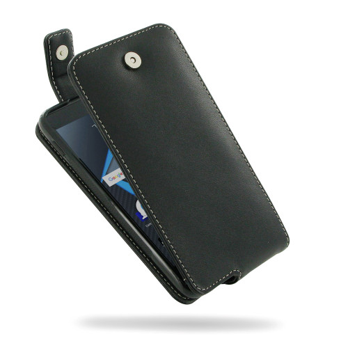 PDair Black Leather Flip Top Wallet Case for BlackBerry DTEK50