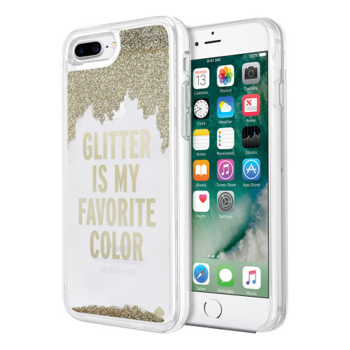 Apple iPhone 7 Plus  /  iPhone 8 Plus Incipio Kate Spade New York Liquid Glitter Case - Glitter Is My Favorite Color Gold / Clear