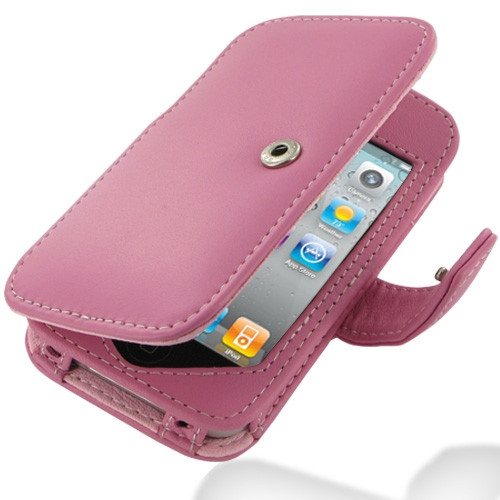 PDair Pink Leather Book-Style Case for Apple iPhone 4 / 4S
