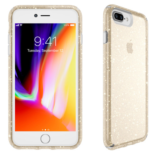Speck - Presidio Clear  Glitter Case for Apple iPhone 8 Plus  /  7 Plus - Clear and Gold Glitter