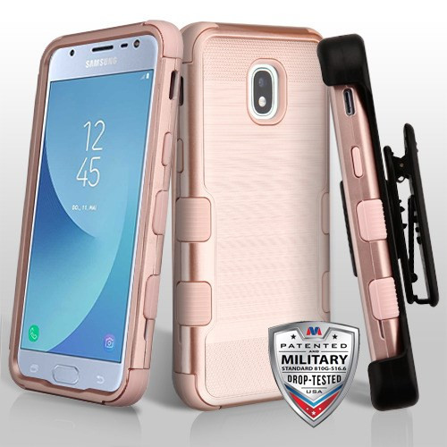 Samsung Galaxy J3 (2018) Rose Gold Brushed/Rose Gold TUFF Hybrid Phone Protector Cover [Military-Grade Certified](with Black Horizontal Holster)