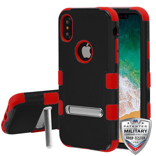 iPhone X Natural Black/Red TUFF Hybrid Protector Cover (with Magnetic Metal Stand)[Military-Grade Certified](with Package)