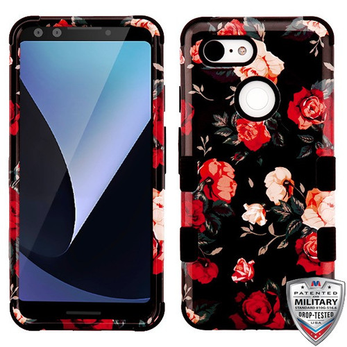 Google Pixel 3 Red and White Roses/Black TUFF Hybrid Phone Protector Cover [Military-Grade Certified](with Package)