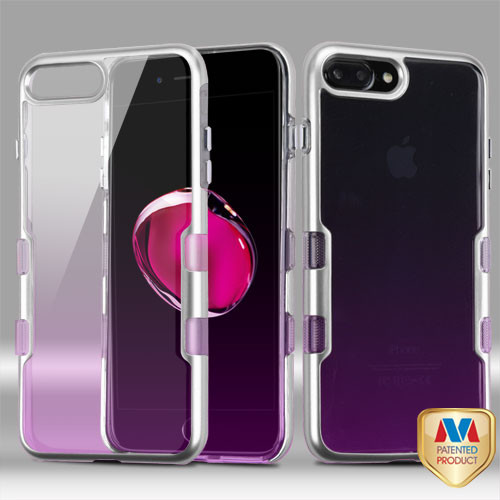 iPhone 7 Plus Metallic Silver/Transparent Purple Gradient TUFF Panoview Hybrid Protector Cover (with Package)