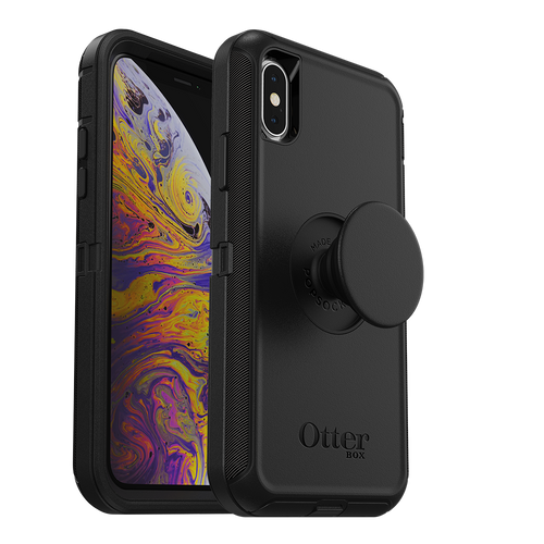 Otterbox - Otter  Pop Defender Case With Popsockets Swappable Popgrip for Apple iPhone Xs  /  X - Black