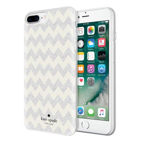 Apple iPhone 7 Plus / iPhone 8 Plus Incipio Kate Spade New York Hybrid Hardshell Case - Chevron Cream / Silver Glitter