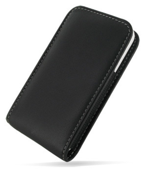 PDair Black Leather Bumper Fit Vertical Pouch for Apple iPhone 4 / 4S