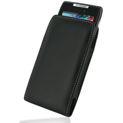 PDair Black Leather Vertical Pouch for Motorola Droid RAZR