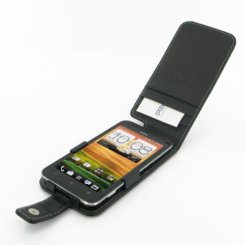 PDair Black Leather Flip-Style Case for HTC EVO 4G LTE