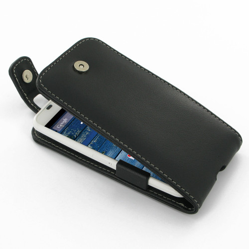 PDair Black Leather FlipTop-Style Case for Motorola Moto X