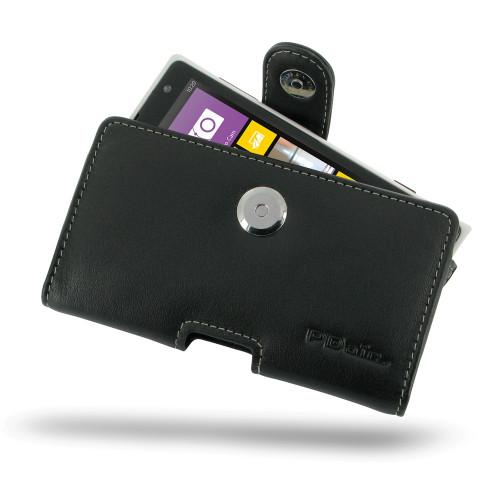 PDair Black Leather Horizontal Pouch for Nokia Lumia 1020