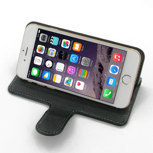 PDair Black Leather Book-Stand Case for Apple iPhone 6 / 6S