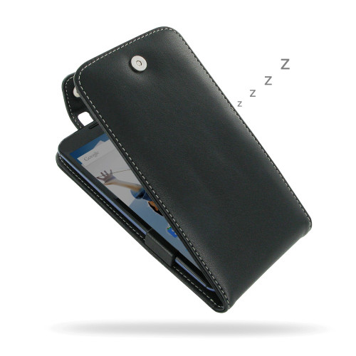 PDair Black Leather FlipTop-Style Case for Google Nexus 6