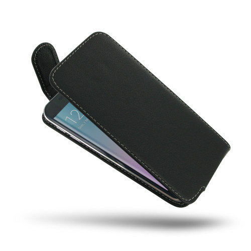 PDair Black Leather Slim FlipTop-Style Case for Samsung Galaxy S6 Edge