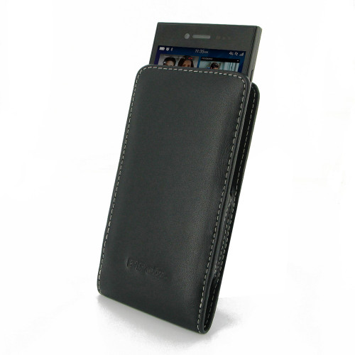 PDair Black Leather Vertical Pouch for BlackBerry Leap