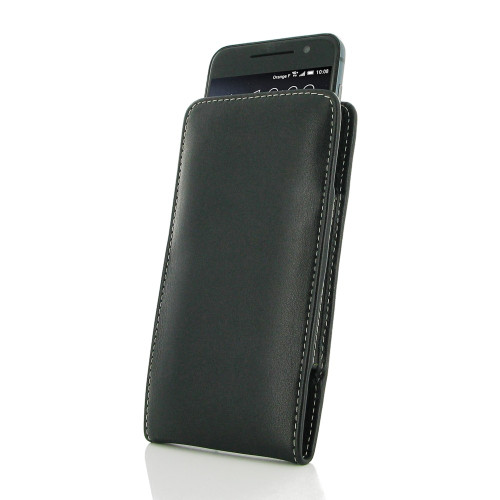 PDair Black Leather Vertical Pouch for HTC One A9