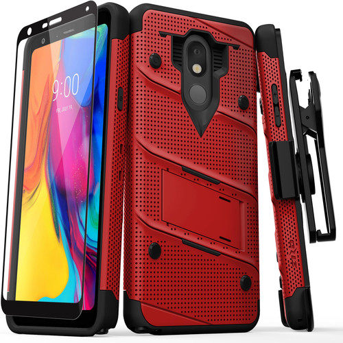 ZIZO BOLT Series LG Stylo 5 Case Military Grade Drop Tested with Full Glass Screen Protector Holster and Kickstand Red Black BOLT-LGSTL5-RDBK