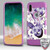 MyBat TUFF Trooper Hybrid Protector Cover [Military-Grade Certified] for Apple iPhone XS/X - Purple Hibiscus Flower Romance / Electric Purple