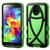 MyBat Fish Hybrid Protector Cover for Samsung Galaxy S5 - Rubberized Black / Electric Green
