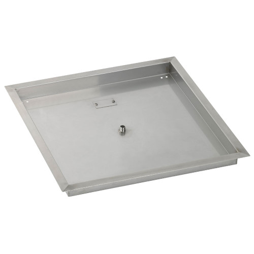 "24"" Square Stainless Steel Drop-In Fire Pit Pan (1/2"" Nipple)"