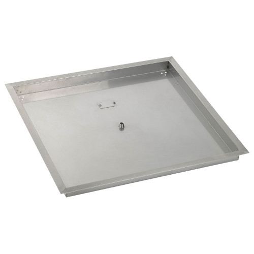 "30"" Square Stainless Steel Drop-In Fire Pit Pan (1/2"" Nipple)"