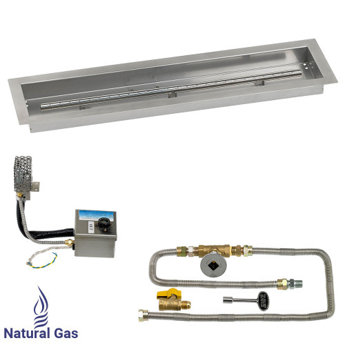 """30"""" x 6"""" Stainless Steel Linear Channel Drop-In Pan with AWEIS System - Natural Gas"""