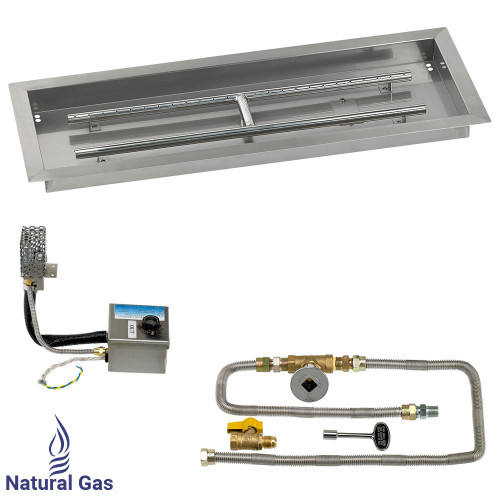 """30"""" x 10"""" Rectangular Stainless Steel Drop-In Pan with AWEIS System - Natural Gas"""