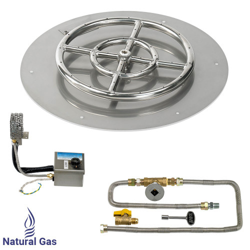 "18"" Round Stainless Steel Flat Pan with AWEIS System (12"" Ring) - Natural Gas"