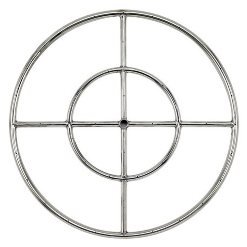"""24"""" Double-Ring Stainless Steel Burner with a 1/2"""" Inlet"""