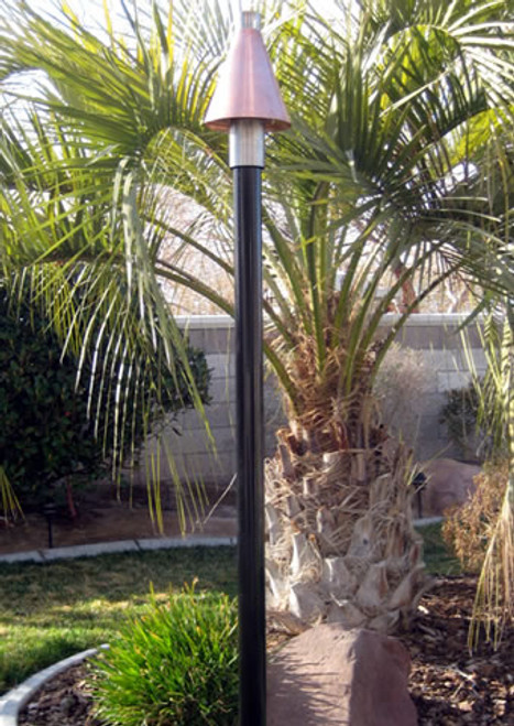 Black Powder Coated Aluminum Pole with Copper Cone Tiki Torch