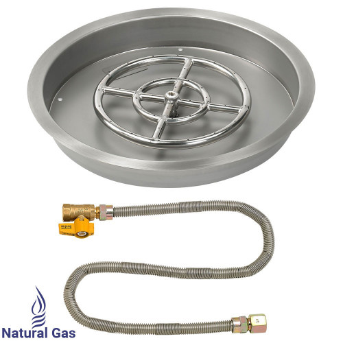 """19"""" Round Drop-In Pan with Match Light Kit (12"""" Fire Pit Ring) - Natural Gas"""