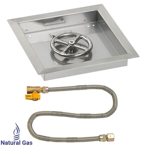 """12"""" Square Drop-In Pan with Match Light Kit (6"""" Fire Pit Ring) - Natural Gas"""