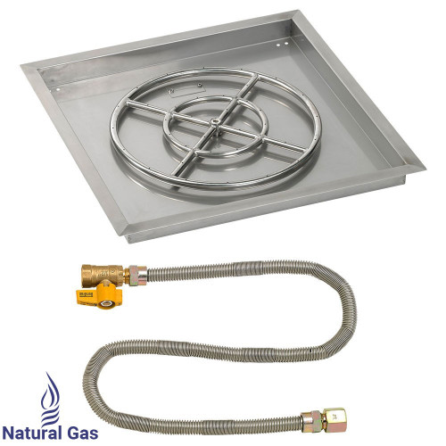 """24"""" Square Drop-In Pan with Match Light Kit (18"""" Fire Pit Ring) - Natural Gas"""