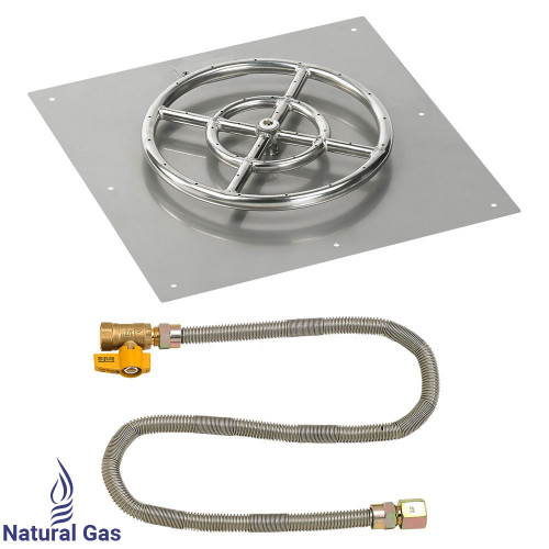 "18"" Square Flat Pan with Match Light Kit (12"" Ring) - Natural Gas"