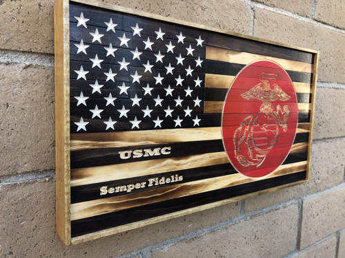 Wood Flag with USMC logo