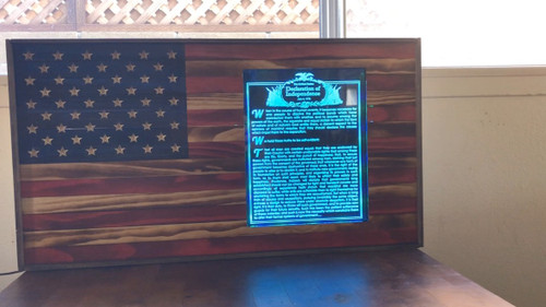 Wooden flag with Declaration of Independence