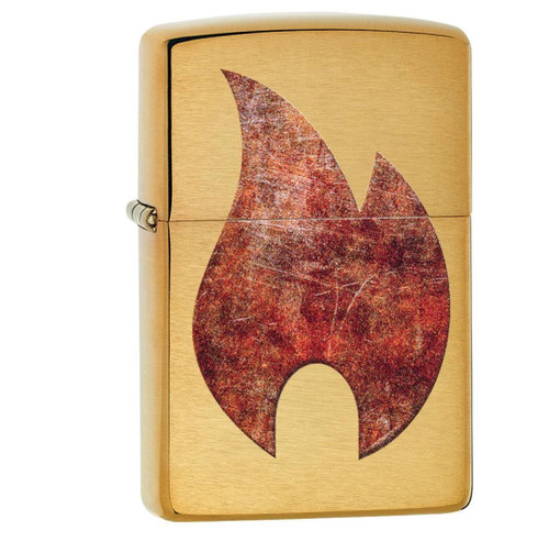 Zippo Brushed Brass Rusty Flame Lighter