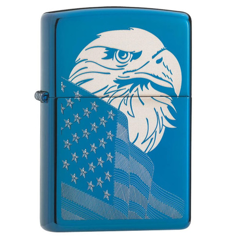 Zippo HP Blue Eagle and Flag Design Lighter