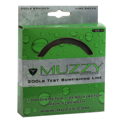 Muzzy 200# Braided Bowfishing Line-100 ft. Spool-Lime Green
