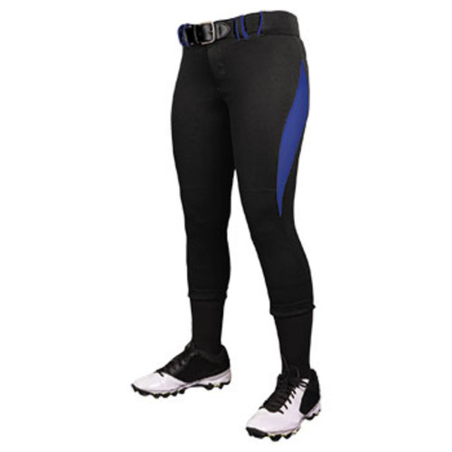 Champro Women Surge 2 Color Softball Pant Black Roy Blue
