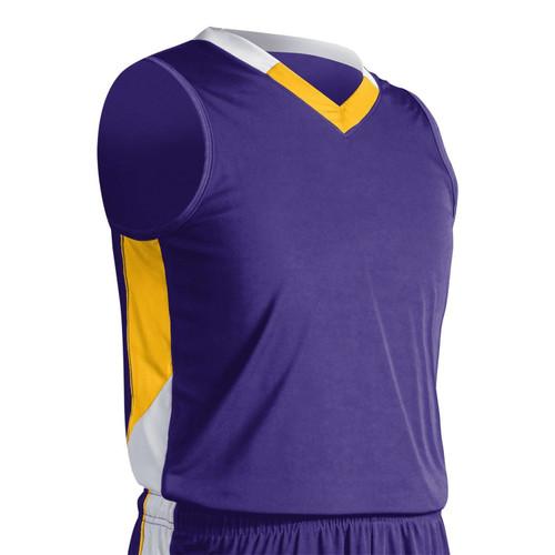 Champro Youth Rebel Basketball Jersey Purp Gold White Large