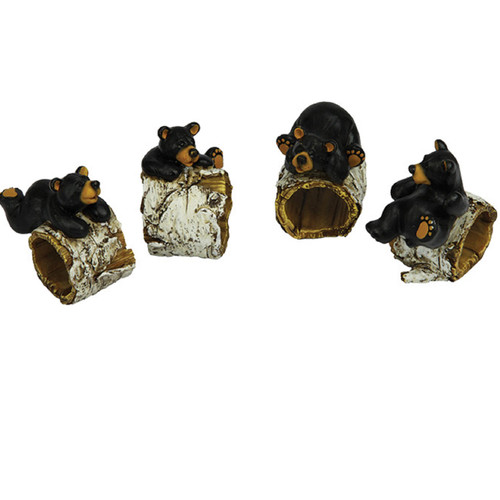Rivers Edge Bear/Birch Tree Napkin Ring Holder - 4 Pieces