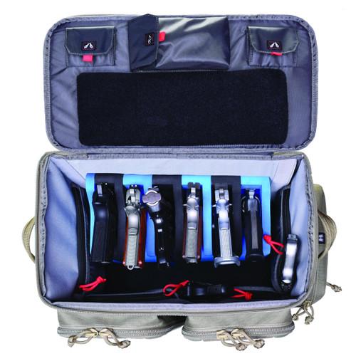 GPS Tactical Rolling Range Bag Holds 10 handguns -Tan