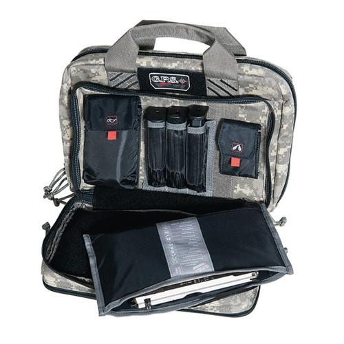 G.P.S. Tactical Quad + 2 Pistol Range Bag - Gray Digital