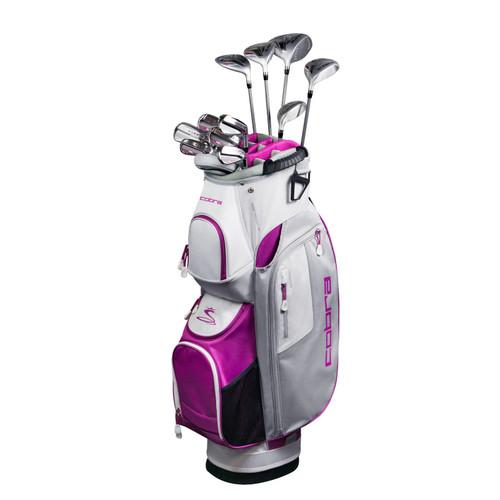 Cobra FLY-XL Womens Golf Set-Silver Plum-RH-Petite-Cart Bag