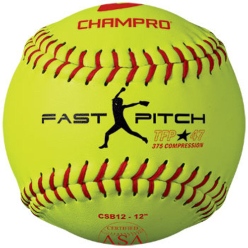 Champro ASA 12 in Fast Pitch Leather Cover Softball Dozen