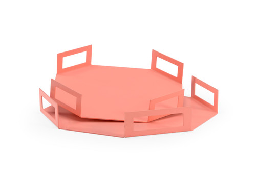 Octagon Trays - Coral (Set of 2)
