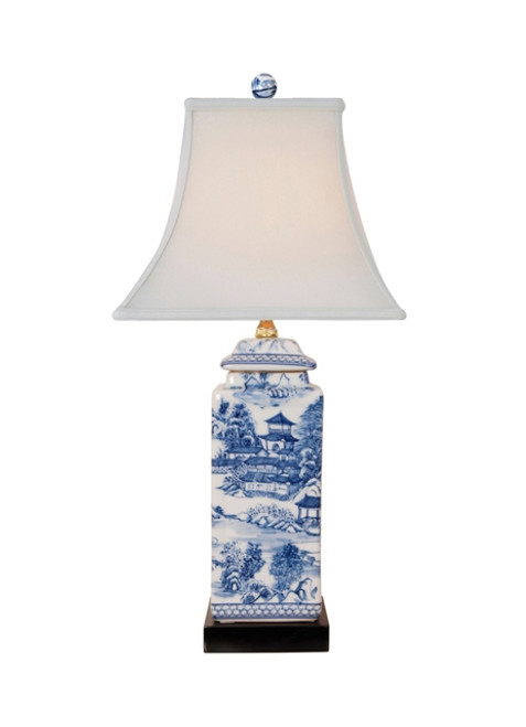 Square Jar Chinoiserie Lamp