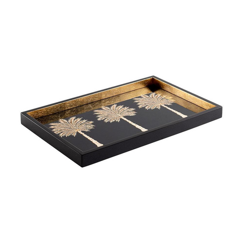 Grand Palms Lacquer Vanity Tray in Black