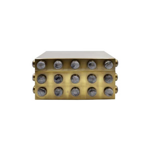 Alba Small Rectangle Brass Box with Resin Appliques